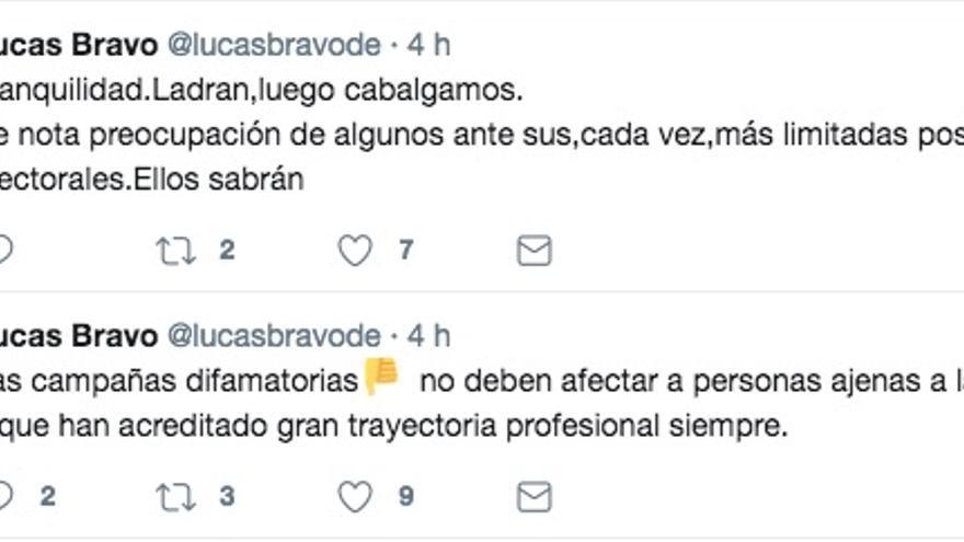 Mensaje publicado en el Twitter de Lucas Bravo de Laguna.