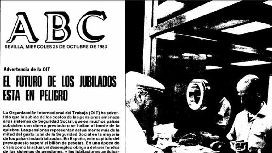 Portada de ABC sobre el futuro de las pensiones, en 1983