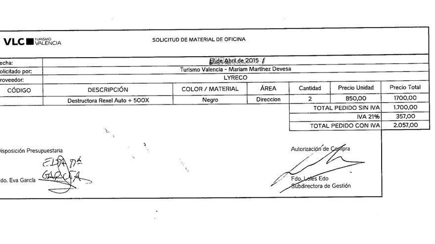 Imagen de la factura de las trituradoras compradas por la fundación