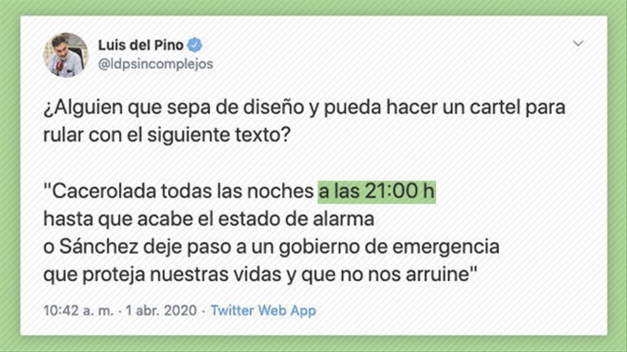 Tuit de Luis del Pino, uno de los principales promotores de la teoría del 11M, que termina dando origen a la cacerolada