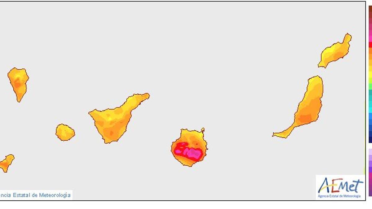 Mapa de temperaturas en Canarias