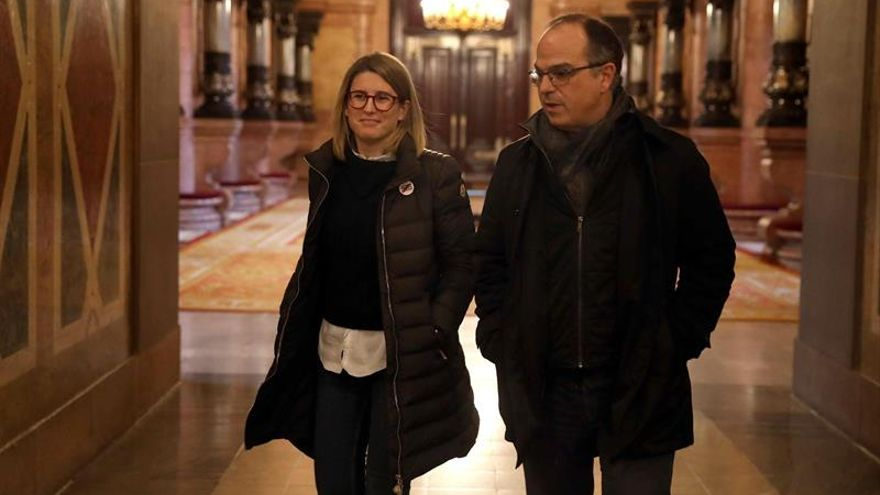 Elsa Artadi y Jordi Turull, dos de los electos de JxCat, en el Parlament