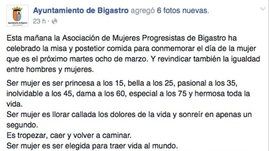 Captura de la cuenta del Ayuntamiento de Bigastro.