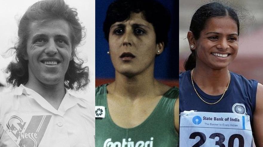 De izquierda a derecha: las atletas Foekje Dillema, María José Martínez y Dutee Chand