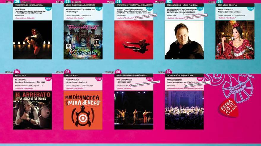 Algunos de los eventos programados en la Feria de Calasparra