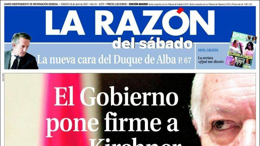 Portada de La Razón, 14 de abril de 2012.