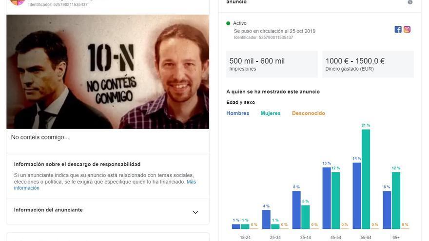 Análisis de uno de los anuncios de Facebook que piden la abstención a los votante del PSOE y Unidas Podemos.