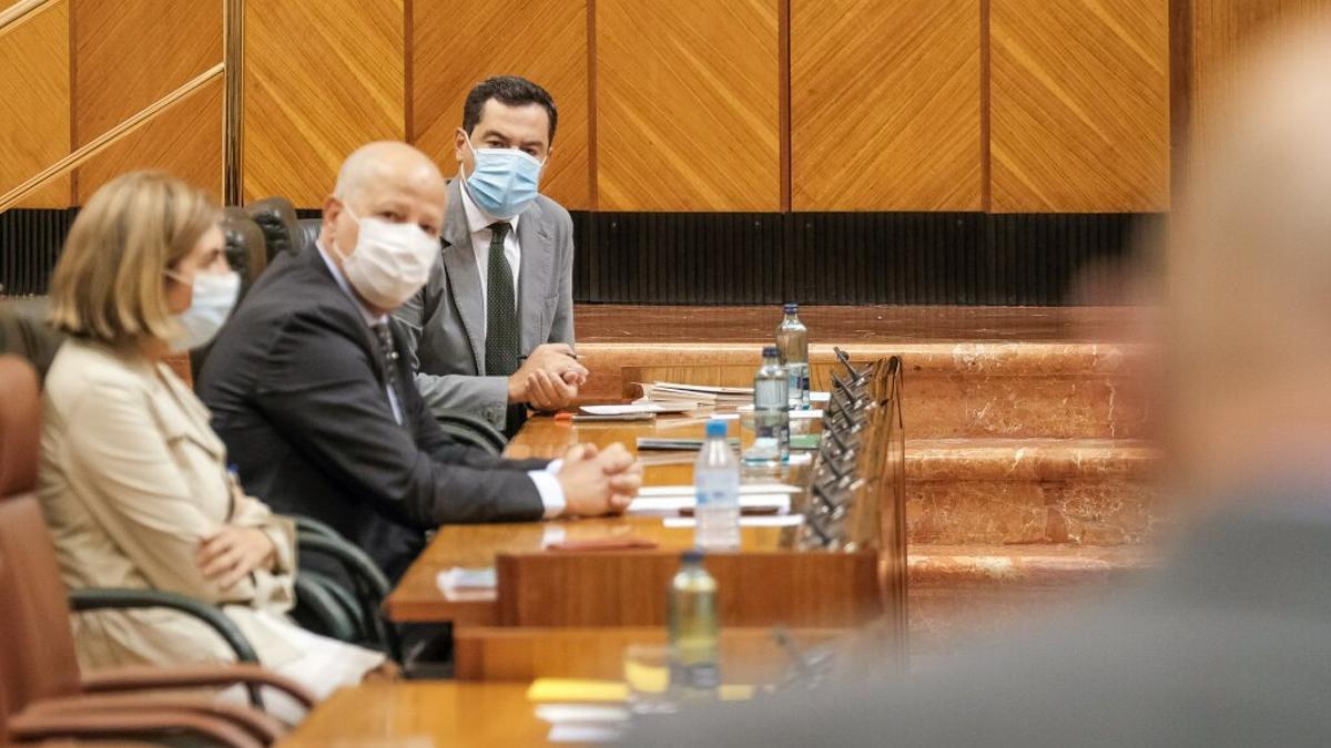 El presidente Juanma Moreno y el consejero de Educación, Javier Imbroda, escuchan la pregunta del portavoz de Vox, Alejandro Hernández.