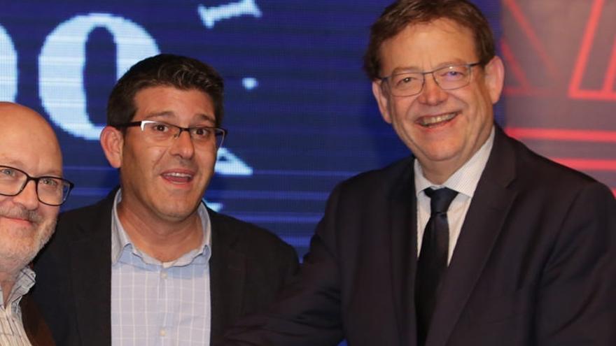 Jorge Rodríguez y Ximo Puig durante la inauguración del 600 aniversario de la Fira de Novembre de Ontinyent