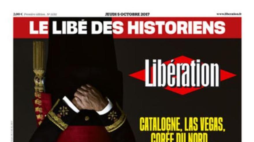 Portada de Libération con el retrato de Felipe VI cabeza abajo