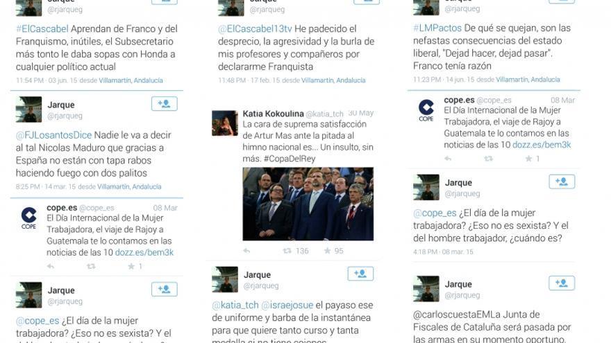 Algunos de los tuits de @rjarqueg recopilados por la AUGC.