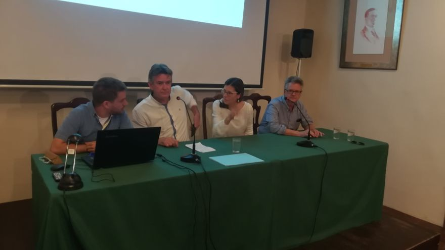 De izquierda a derecha, Jonás Cubas, Pedro Sosa, Ruth Jaén y Juan Luis Rodríguez, en la rueda de prensa de este sábado