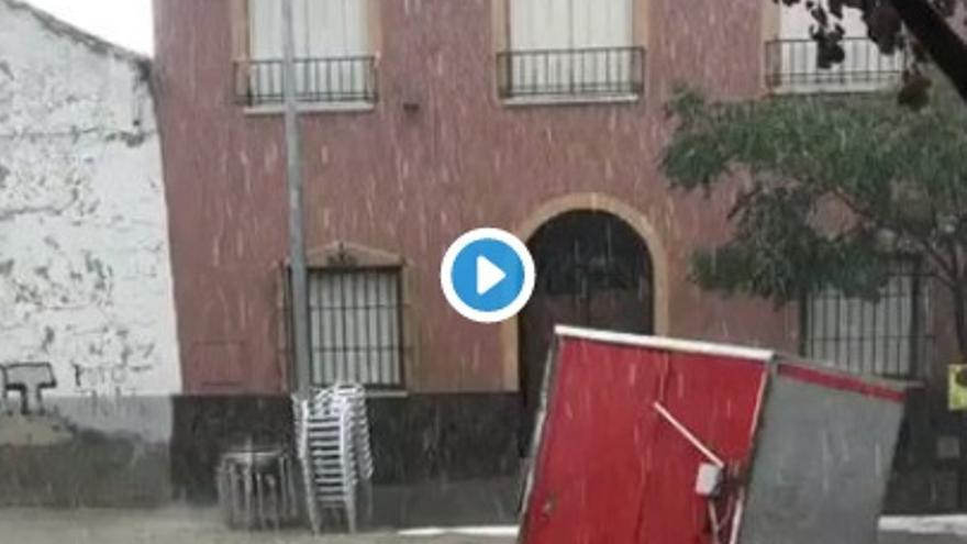 Imagen de uno de los vídeos de las fuertes tormentas en Toledo