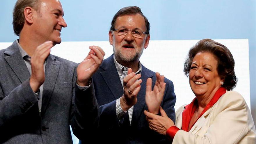 Mariano Rajoy con Alberto Fabra y Rita Barberá