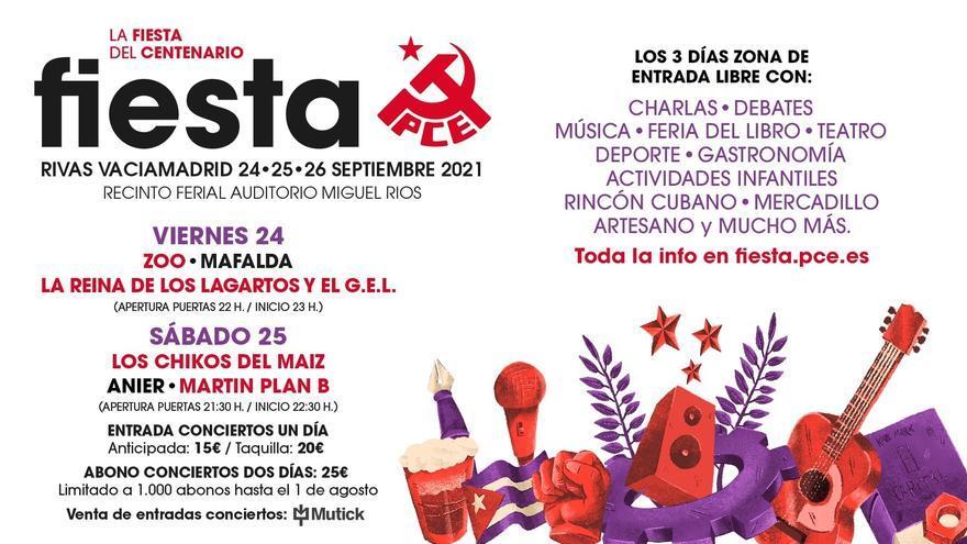 Imagen del cartel de la fiesta del PCE de este año 2021, que tendrá lugar en la localidad madrileña de Rivas.