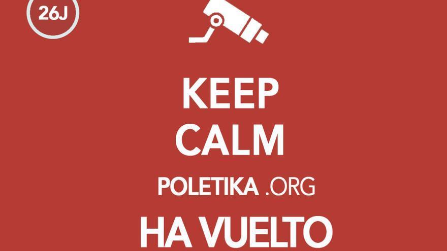 Meme 'Poletika ha vuelto'. Imagen de la plataforma de seguimiento ciudadano poletika.org