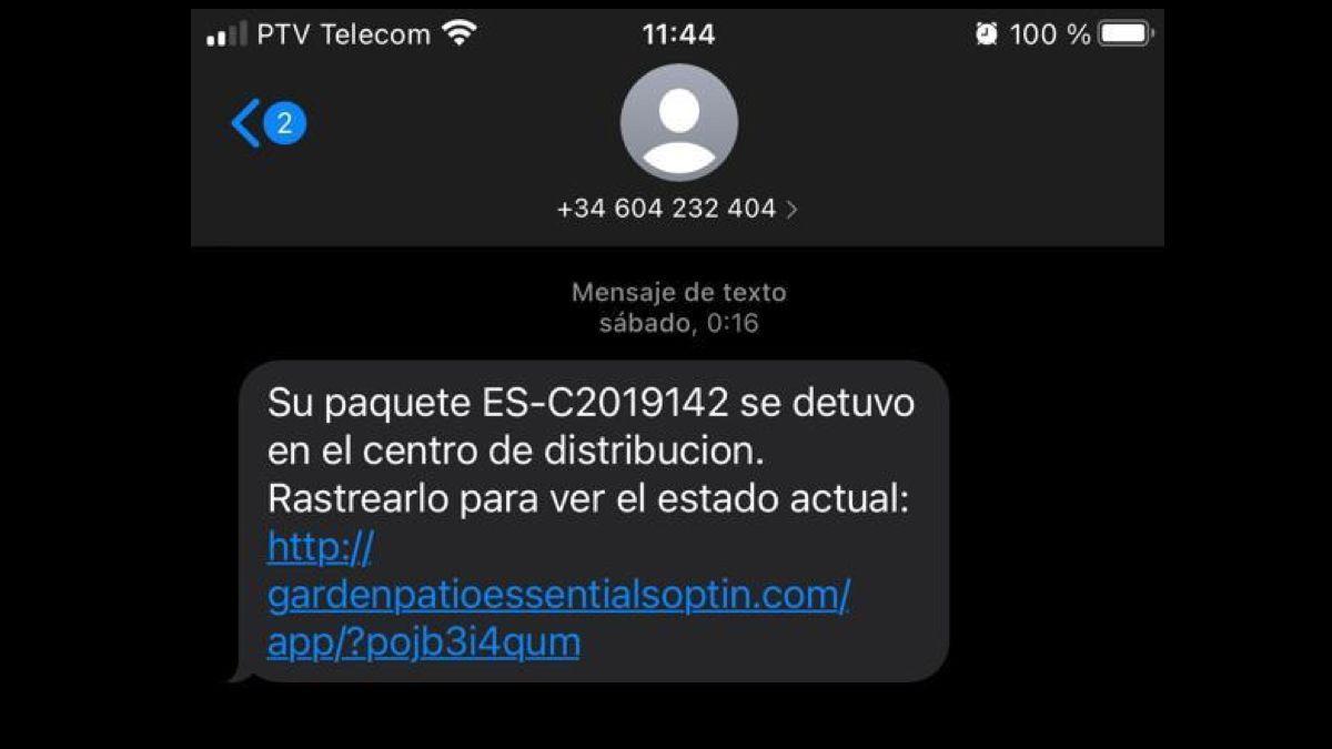 Imagen del SMS enviado.
