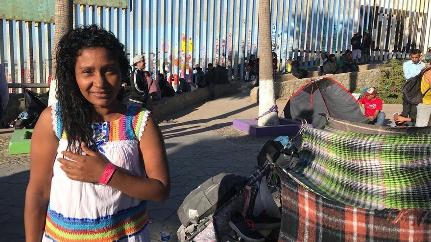 Aida Olivia, a su llegada a la frontera con EEUU.