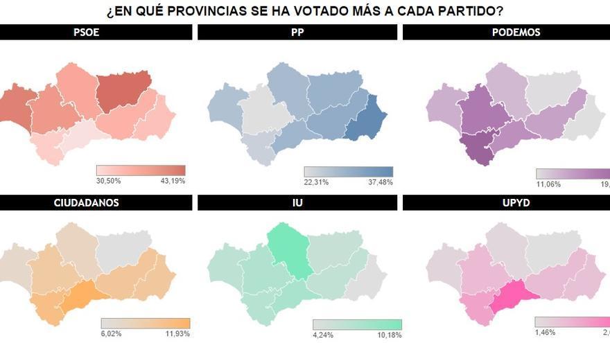 En qué provincia se ha votado más a cada partido. Gráfico: Belén Picazo