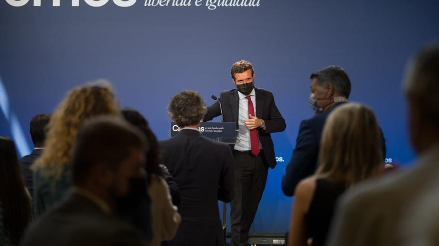 El líder del PP, Pablo Casado, en un acto en Barcelona