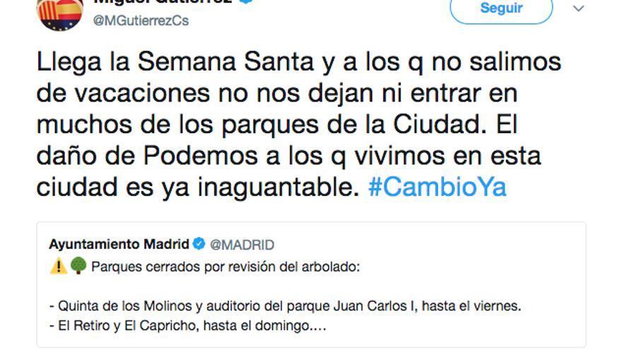 Tuit de Miguel Gutiérrez (Ciudadanos) sobre los parques cerrados de Madrid