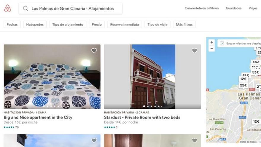 Alojamientos de Airbnb en la capital grancanaria