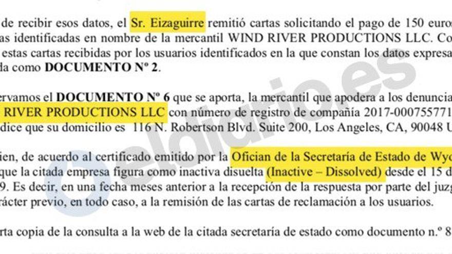 Texto de la denuncia de los afectados por las cartas que exigen un pago a cambio de no ir a juicio por piratería.