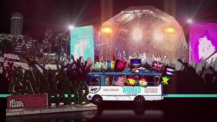 Fotograma del vídeo del cartel de WOMAD 2017 en el Parque de Santa Catalina.