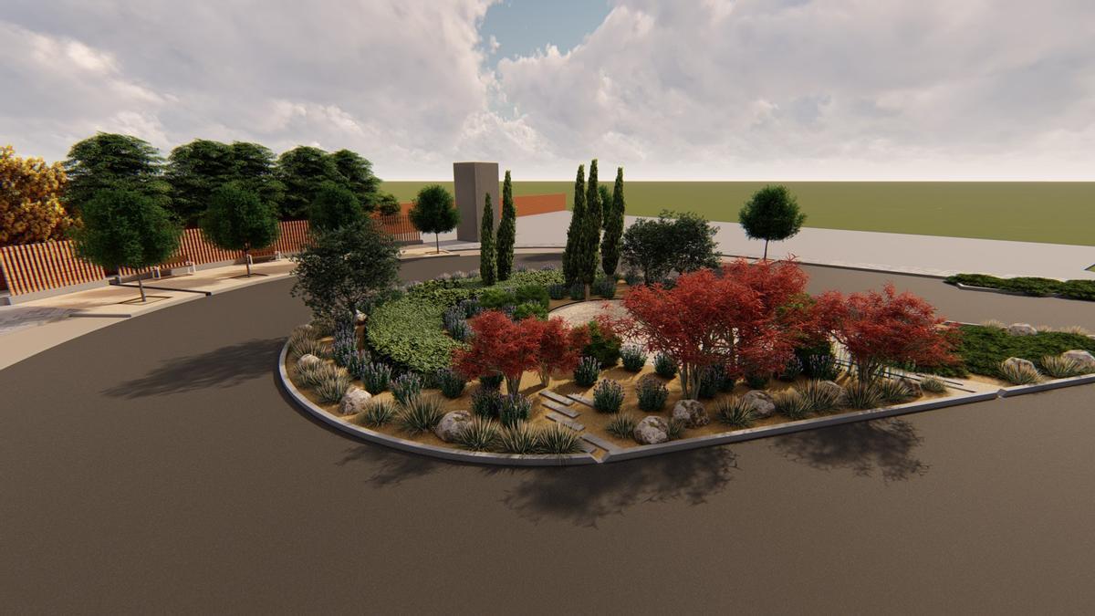 Previsualización de cómo quedará la nueva rotonda de la calle Pilar Miró, en el Polígono de Argales.