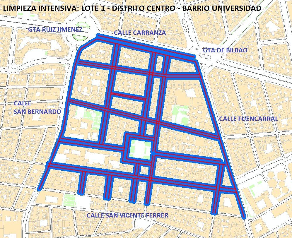 Zona afectada por el plan de limpieza (pincha para ampliar) | AYUNTAMIENTO DE MADRID