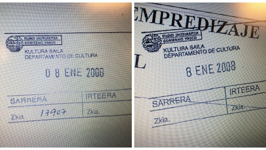 Sello original frente a la prueba de esa misma fecha presentada por Sánchez Robles