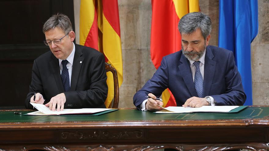 El President de la Generalitat, Ximo Puig, y el presidente del Consejo General del Poder Judicial (CGPJ), Carlos Lesmes