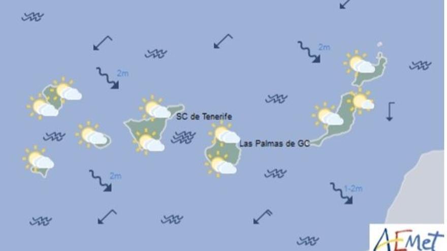 Mapa con la previsión del tiempo para este lunes, 30 de enero de 2017