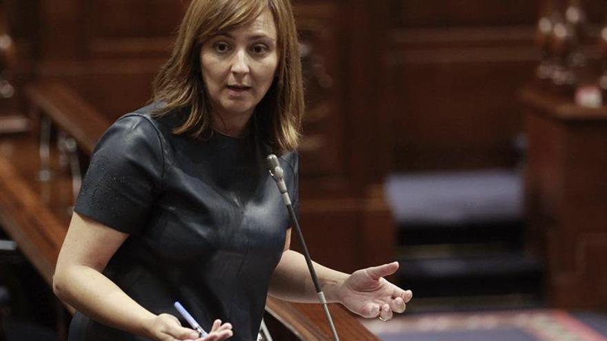 La consejera de Política Territorial del Gobierno de Canarias, Nieves Lady Barreto, durante una de sus intervenciones ante el pleno del Parlamento regional. EFE/Cristóbal García