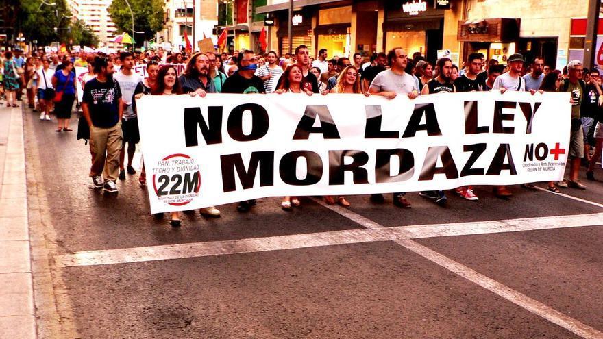 Manifestación contra las 'leyes Mordaza' por las calles de Murcia / Foto: Coordinadora Antirrepresión Región de Murcia