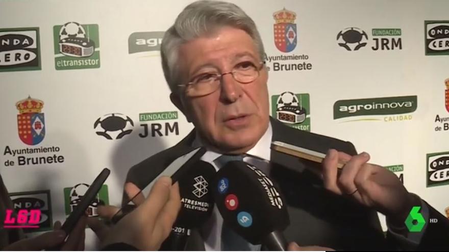 Enrique Cerezo, presidente del Atlético de Madrid, en declaraciones a los medios de comunicación