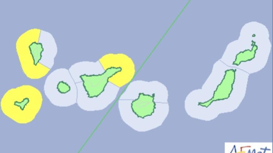Mapa de la Aemet del aviso de riesgo por fenómenos costeros para este  jueves, 22 de febrero de 2018.