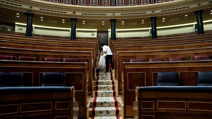 El Congreso de los Diputados vacío después del último pleno