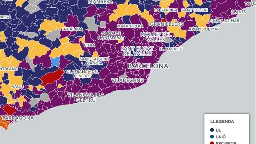 En Comú Podem arrasa en los municipios del área metropolitana de Barcelona. / Mapa de TV3