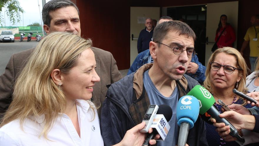 El cofundador de Podemos, Juan Carlos Monedero, en un acto celebrado este domingo en Gran Canaria.