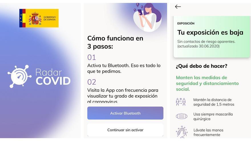 Radar COVID, la app española de rastreo de contagios, en un teléfono Android.