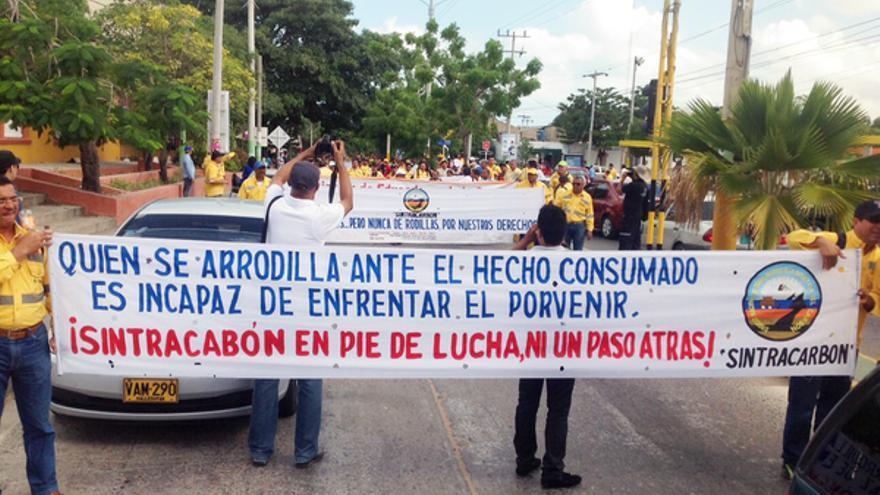 El Sindicato Nacional de los Trabajadores de la Industria de Carbón en la marcha del pasado 15 de febrero © Particular