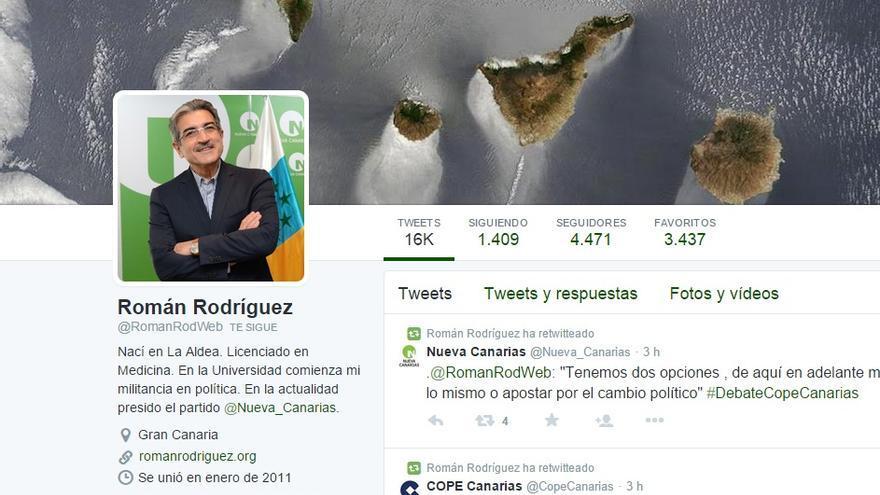 Pantallazo de la cuenta de Twitter de Román Rodríguez.