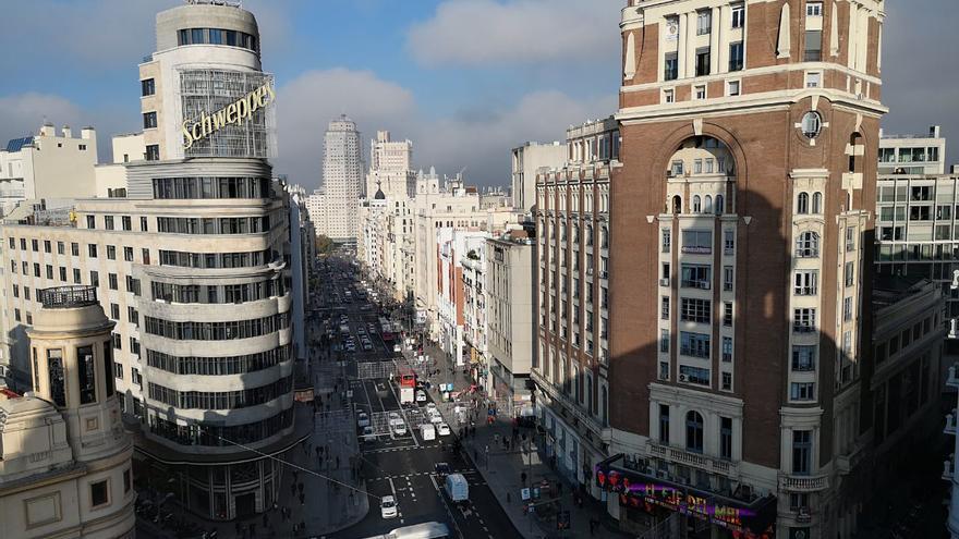 La Gran Vía, en el primer día de aplicación de Madrid Central.