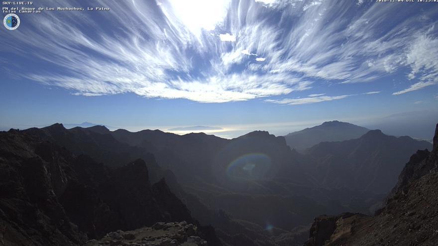 Panorámica del entorno del Roque de Los Muchachos, este martes, con Tenerife, El Hierro y La Gomera al fondo. Imagen captada de la webcam del IAC.