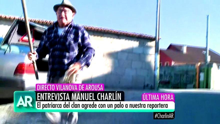 Manuel Charlín agrede con una azada a la reportera de Ana Rosa