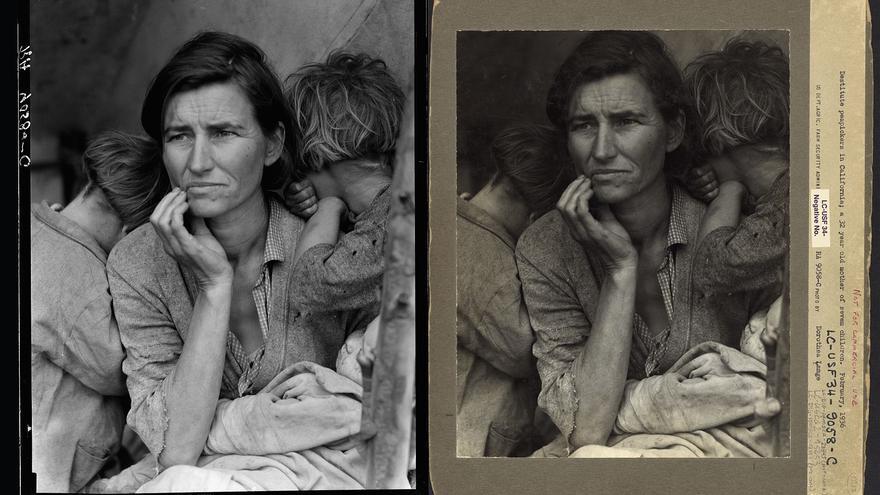 A la izquierda, versión editada de 'Madre migrante'. A la derecha, versión sin retocar con el dedo en primer plano