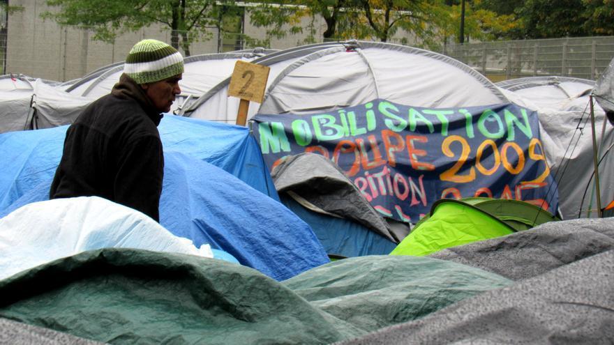Campo de refugiados en el centro de Bruselas. Imagen cedida a eldiario.es