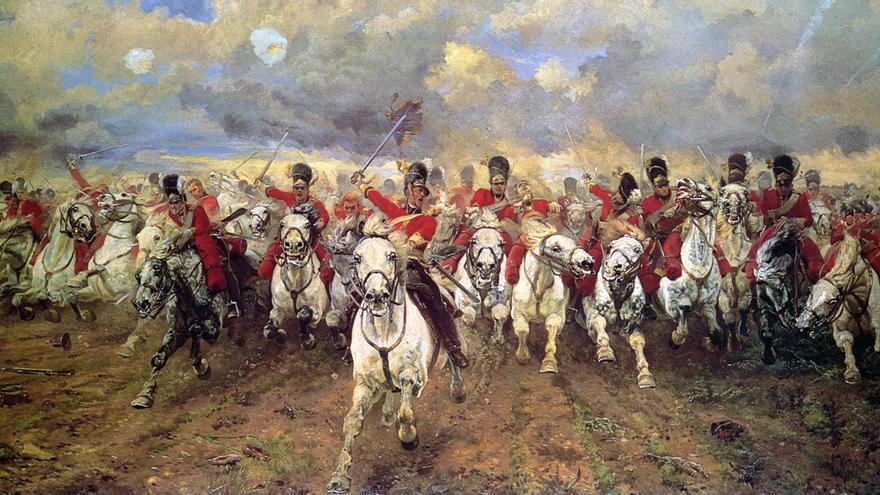 Carga de la caballería británica durante la batalla de Waterloo