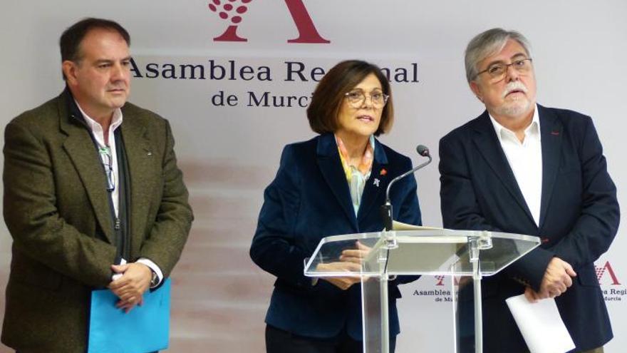 Juan José García Escribano e Ismael Crespo, codirectores del CEMOP, junto a la presidenta de la Asamblea, Rosa Peñalver